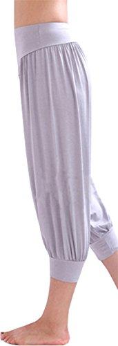 HOEREV® Super Soft Modal Spandex Harem Yoga Pilates Pantalons Capri des femmes Gris