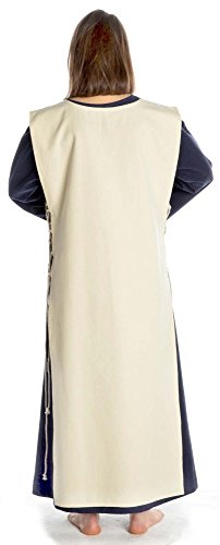 HEMAD Damen Mittelalter Kleid grün mit Skapulier S-XL Baumwolle mit Leinenstruktur Damenkleid grün-beige