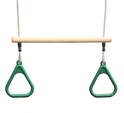HIKS Trapezstange für Kinder mit grünen Gymnastikringen für Klettergerüste
