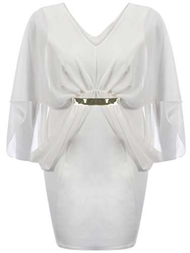 Damen plus Größe Kimono Chiffon Sleeve Gold Strap Gürtel figurbetont Midi Party Kleid 18–24 Gr. 20, Gelb - Cremefarben (Belted Kimono-gürtel)