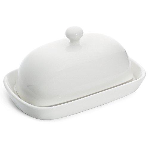 Sweese 306.101 Butterdose mit Deckel, Hochwertig Porzellan Butterschale, für 125 g Butter, Weiß
