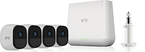 Arlo Pro VMS4430 Wifi Video Surveillance System with Four Security Cameras, 2 Way Audio, Rechargeable Battery, HD, Night Vision, Indoor / Outdoor, Works with Alexa and Google Wifi