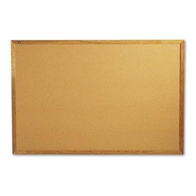 Quartet 307 - Bulletin Board, Natural Cork Over Fiberboard, 72 x 48, Solid Oak Frame by Quartet