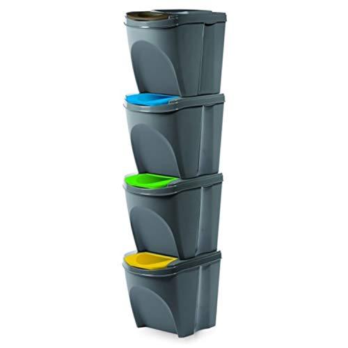 Prosperplast Juego 4 Cubos Reciclar Basura, 20L Cada