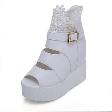 LvYuan Damen-Sandalen-Büro Kleid Lässig-PU-Keilabsatz-Club-Schuhe-Schwarz Weiß Black
