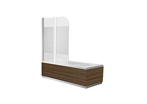 faltbare duschwand fuer badewanne Glas Duschabtrennung DALLAS GLAS SATIN STRIPED Badewanne Faltwand Duschwand Badewannenfaltwand Nanobeschichtung - 6mm ESG Glas - faltbar