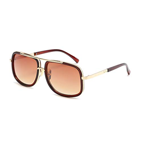 Skang Hochwertige Sonnenbrille Herren & Damen Sunglasses Fliegerbrille Verspiegelt Platz Metall Rahmen Sunglasses Eyewear(Einheitsgröße,D)