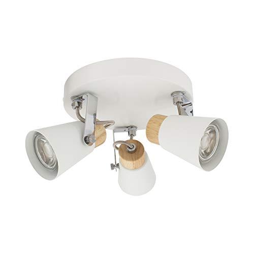 Lámpara de Techo Circular Orientable Mara 3 Focos Blanco Blanco