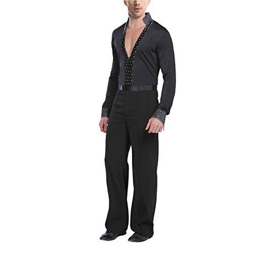 Tenthree Latein Tanzkleid Kostüm Outfits Herren - Männer Lange Ärmel Hemden Hosen Dancewear Kleid Moderne Jazz Tanz Performance Bekleidung Ballsaal Samba Tango Rumba Party ()