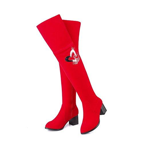 VogueZone009 Donna Cerniera Tacco Medio Chiodato Alta Altezza Stivali con Studded Strass Rosso