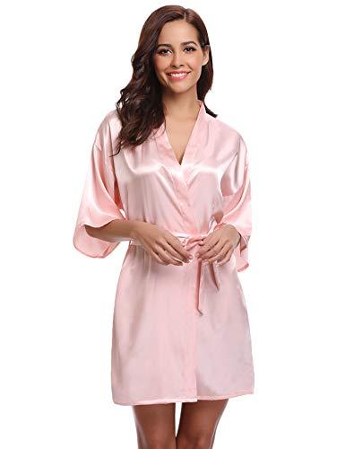 Aibrou Damen Morgenmantel Glatte Satin Nachtwäsche angenehmer Bademantel Kimono Negligee Seidenrobe locker weicher Schlafanzug Glanz Look kurz (S, Rosa)