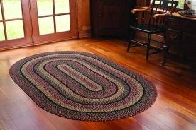IHF Home Decor Blackberry Geflochten Oval Teppiche Jute Stoff Pflaume mit Schwarz und Creme Farbe Modern 36