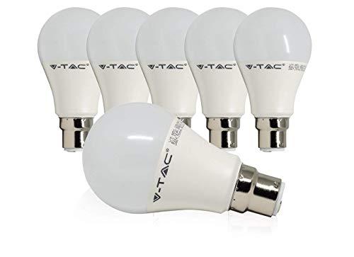 V-TAC 9 W-LED-Leuchtmittel mit B22-Bajonett-Sockel, entspricht 60W, A60, warmweiß, 2700K, beschlagene, runde GLS-Glühbirne, ultraleicht 806lm, nicht dimmbare Energiesparlampe, 6er Packung, Energieklasse A+, Tageslicht  Weiß, B22, 10.0 wattsW (Bajonett-sockel)