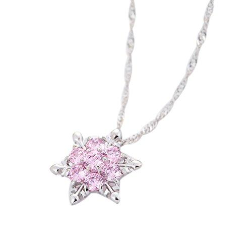 JUNGEN Kristall Schneeflocke Halskette Wasserwellen Kette Halsketten Anhänger Damen Schmuck, Rosa