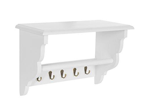 Küchenregal Küchenboard mit Handtuchhalter Landhaus Stil Wand Regal Weiß (Weißes Regal Handtuchhalter)