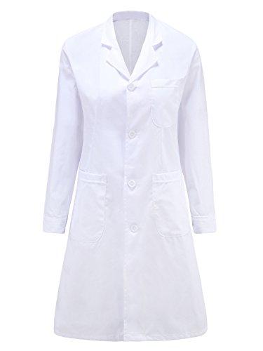 MQMY bianco cappotto dottore l'infermiera abbigliamento donna maniche lunghe respirabile antibatterici vicino alla pelle durevole (XXXL, ispessimento)