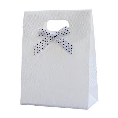 36 Pezzi Sacchetto Borsa Wedding Bag Con Fiocco Manico Plastica (BIANCO)