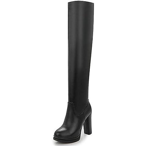 Zapatos de mujer botas primavera/otoño/invierno tacones/plataforma/Moda Puntera redonda Botas/oficina/carrera/vestimenta casual Chunky talón,Negro,US4-4.5 / UE34 / REINO UNIDO2-2.5 /