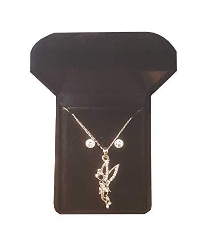 Mon-bijoux Schmuck-Set - Anhänger Tinkerbell - Halskette + Anhänger + Ohrringe + Schmucketui - Fantasie-Schmuckset in schwarzer Schatulle