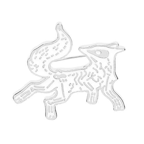 Daxoon Fox Brosche, niedliche Anstecknadeln, lustige Tiere, Anstecknadel für Rucksack, Jeans, Mantel, Kostüm-Zubehör weiß weiß 3.2 * (Lustige Niedliche Kostüm Frauen)