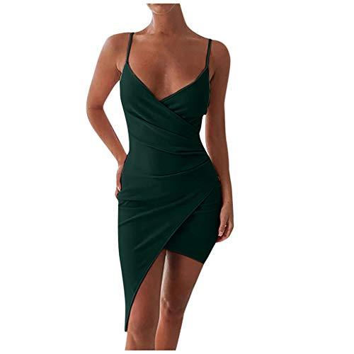serliyDamen Sexy Tief V Ausschnitt Kleid Träger Rückenfreies Kleider Sommerkleider Figurbetontes Wickelkleid Cocktailkleid Midi Club Kleid