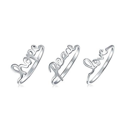 3 925 Sterling Silber Frieden Liebe Hoffnung Wort Achsschenkel Midi Ring