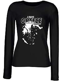 T-Shirt Langer Armel Frauen Schwarz FUN2080 i Have Greece on My 216861820f8