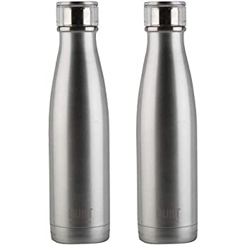 a01c88dce3 Pack of 2 Built Stainless Steel Double Walled Insulated Vacuum Travel Drink  Water Bottle Flasks 17 oz 480 ml (Silver)