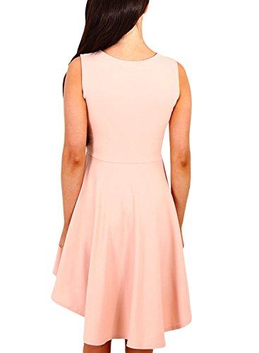 DOKOTOO Womens Casual Off Shoulder Vintage Backless Skater Dress Small Pink