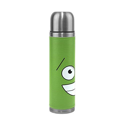 Isaoa 500 ml Boisson Bouteille d'eau en acier inoxydable Vert bouteille Funny Faces Isolation sous vide Thermos anti-fuites à double paroi isotherme pour l'intérieur Sports de plein air randonnée Course