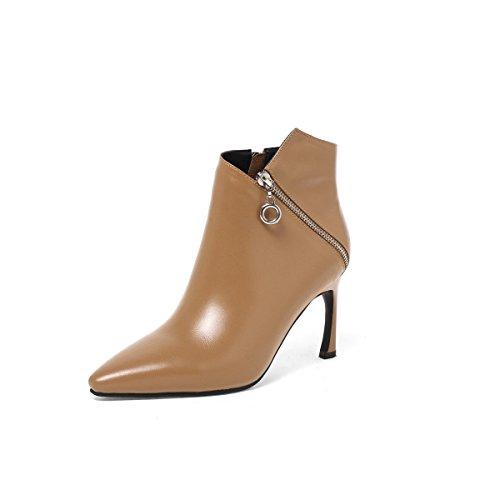 GSHGA Schlanke Sexy Stiefel Weibliche Neue Echtes Leder Damenschuhe Seitlichem Reißverschluss Stiefel,Brown-34 (Boot Ugg Damen Verkauf)