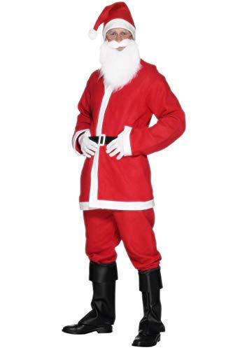 Fancy Dress World Mens Adult Santa Claus Father Christmas Costume - Trousers Jacket Belt Beard Hat and Belt FREE Santa Sack - Santa's Grotto Panto Fun 20841 (Adult Male UK Medium 38-40)