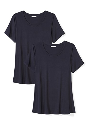 Plus Size Jersey Short-Sleeve Scoop Neck Swing T-Shirt, Navy, 7X ()