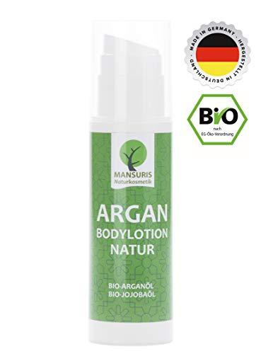 Bio Bodylotion Natur für Frauen & Männer   Natürliche Körperlotion mit Arganöl für unreine, rissige & trockene Haut, Naturkosmetik spendet Feuchtigkeit für Anti-Aging-Pflege, Duftneutral 150 ml