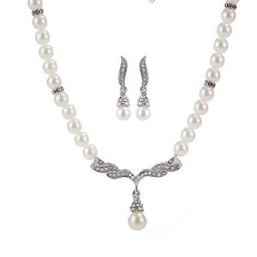 Yazilind Jewellery Sets for Women Elegantes, Schlichtes Design für Damen Faux Pearl Element für Brida Costume Girls