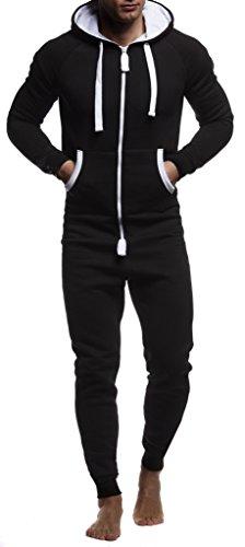 LEIF NELSON Herren Overall Jumpsuit Onesie Trainingsanzug Jogginghose Trainings T-Shirt Fitness Stringer Bekleidung LN8154; Größe L; Schwarz-Weiss