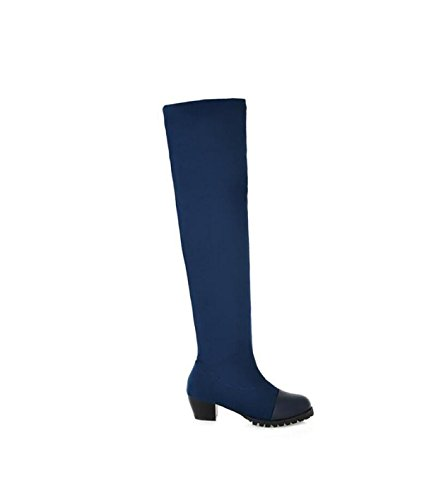 Grrong Bottes Pliantes Mi-longues Pliantes Au Genou Pour Femme Bleu
