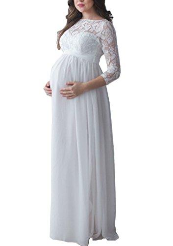 Chiffon Schwangerschaftskleid Hochzeitskleid aus Spitze mit 3/4 Arm