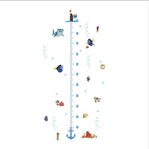 ikjuh Fisch Höhe Maßnahme Wandaufkleber Nurasey Kinderzimmer Wohnkultur Zubehör Cartoon Tierwachstumstabelle Wandbild Kunst PVC Aufkleber 68 * 125 cm