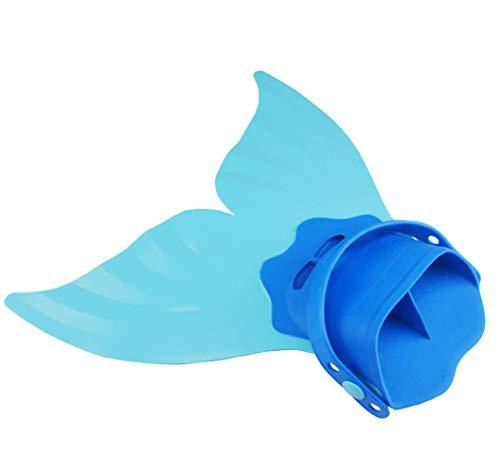 HHD® Queues de Sirène, Nageoire de sirène Filles Monopalme Sirène Réglable Nageoires Plongée Palmes Natation pour Enfants (Bleu/Palmes, 40 * 40 * 18)