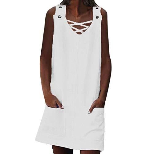 LILIHOT Frauen V-Ausschnitt Sommerkleid Shift Daily Kleid Casual Spleiß Strandkleid Taschen Knopf Plain Cotton Kleider Ärmelloses Beiläufiges Tank Mini Kleid Freizeit Boho Dress Deep Plunge Mini