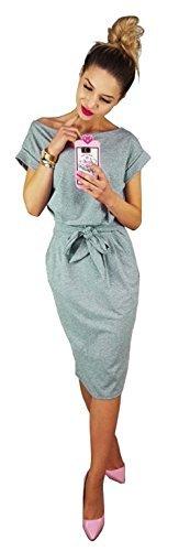 Longwu Damen Elegantes Kurzärmeliges Kleid für Freizeit und Arbeit mit Gürtel Grau-XL
