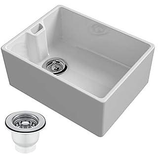 Reginox Regi-Ceramic Belfast, 1 Bowl Sink, White with 90mm Strainer Waste