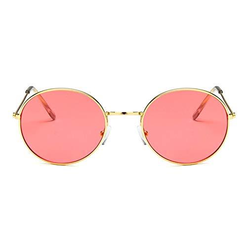 Retro Sonnenbrille Runde Vintage Polarisierte Linsen Metall Gestell Rundbrille Hippi Brille Outdoor-Brille für Frauen und Männer Bequeme Brille (Color : Red, Size : 14x13.5x5cm)
