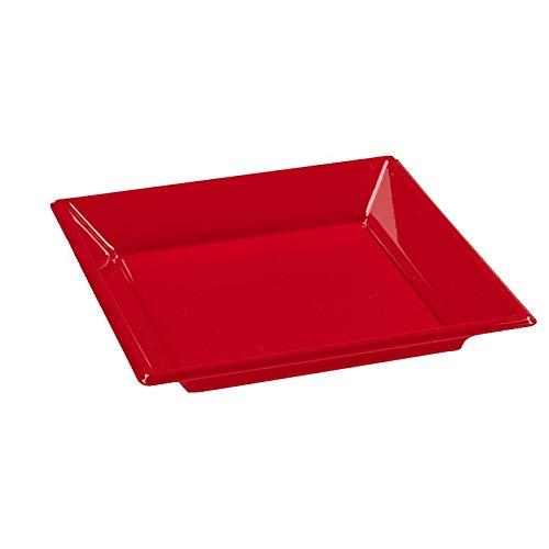 8 assiettes carrées plastique rouges 23x23 cm