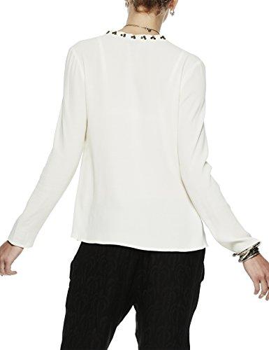 Scotch & Soda Maison Damen Bluse Viscose Blouse With Bead Detail Weiß (off white 03)