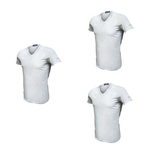 3 t-shirt uomo mezza manica scollo a v cotone bielatico enrico coveri art et1001 (4/m, bianco)