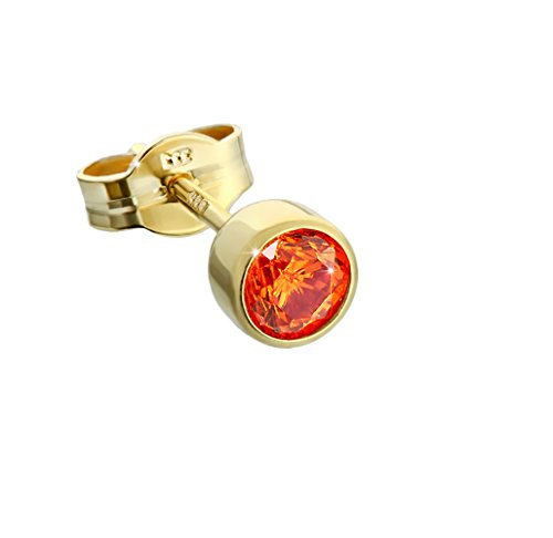NKlaus Single Ohrstecker Gold 333er 4,50mm orange Zirkonia Damen Herren Kinder 6711