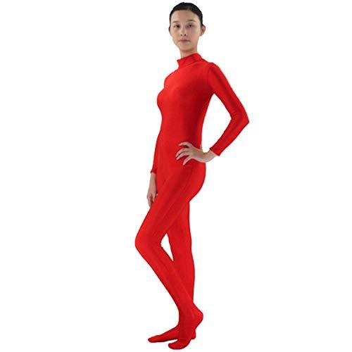 IMEKIS Damen Catsuit Spandex Langarm Ganzanzug Body Ballettanzug Einteiler Overall Jumpsuit Ganzkörperanzug Party Clubwear Dancewear Fasching Cosplay Erwachsene Bodysuit Zentai Kostüm Rot 3XL (Rot Spandex Catsuit Für Erwachsene Damen Kostüm)