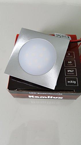 1 x Feuchtraum Slim LED Quadratisch/Eckig Floorlight Bodenleuchte Flatty Fliesen Laminat 12V 0.5W IP67 3000Kelvin 60lm in warmweiß